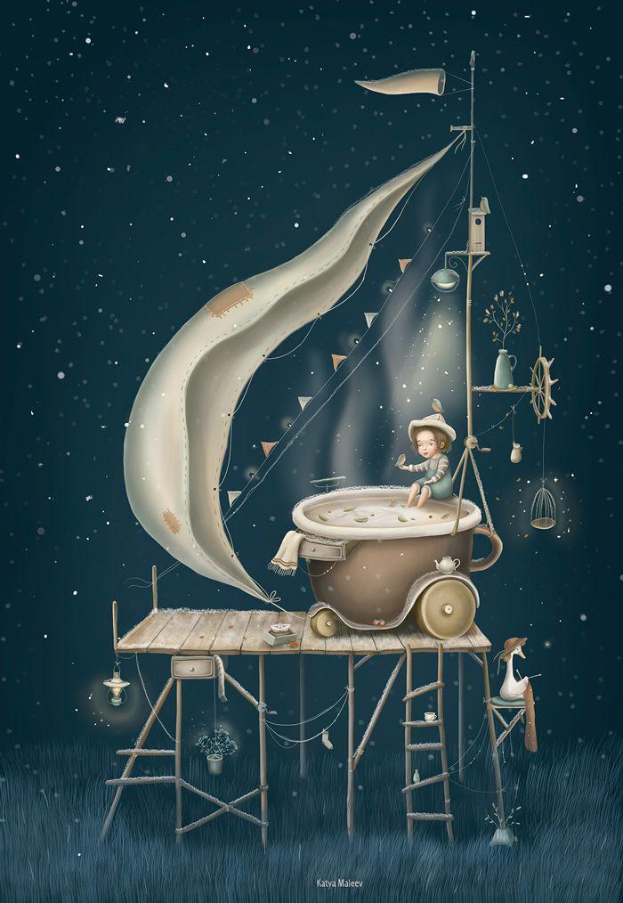 Come for tea - Katya Maleev illustrations