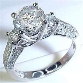 ... Carat Round Brilliant Platinum Three Stone Diamond Anniversary Ring