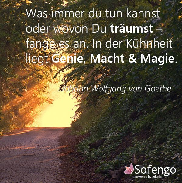 Was immer du tun kannst oder wovon du träumst-fängt es an. In der Kühnheit liegt Genie,Macht & Magie.-Johann Wolfgang von Goethe