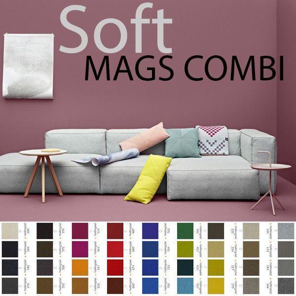 Les combinaisons sofa ou canapé MAGS SOFT modulables, coutures apparentes, version tissus kvadrat, par HAY : confortable, déco et design