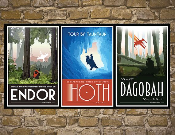 STAR WARS Set of 3 Travel Poster Vintage Print Wall by MMPaperCo