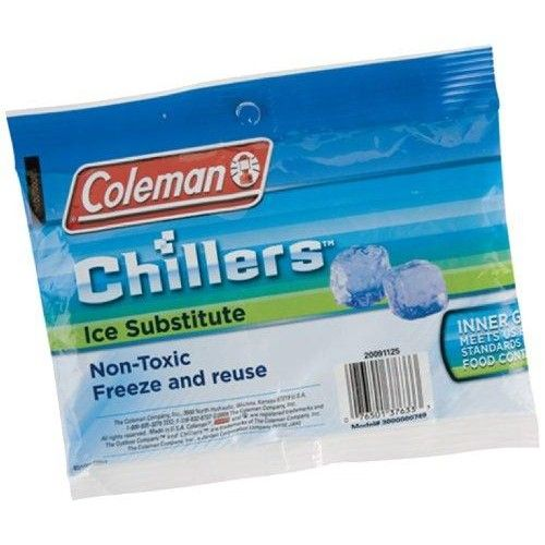 Coleman Chillers Ice Substitute (Large)  Keeping your lunch cold with a #Chillers Lunch Pack Ice Substitute can be the difference between a perfectly cooled sandwich and a disappointing food disaster. This non-toxic hard-body #ice substitute just needs some time in your freezer before it's ready to keep your lunch pack nice and chilled. Large size/Soft pack.  Features : Large soft size *Holds 10  Size : Large