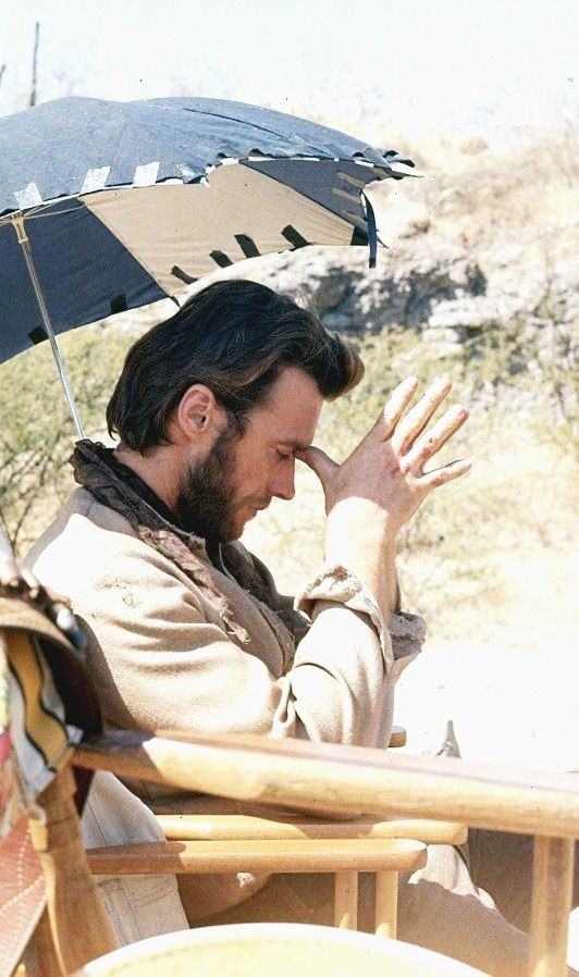 """""""Clint Eastwood relaxes himself on the set of Two Mules for Sister Sara, 1969."""""""