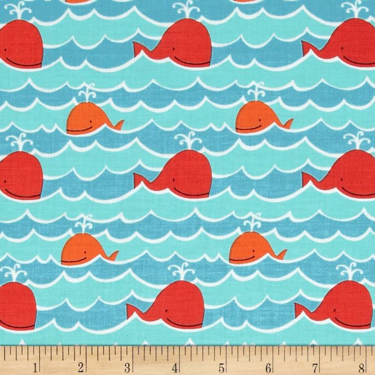 Beach whales bay tissus fabrics pinterest fabrics for Nautical nursery fabric