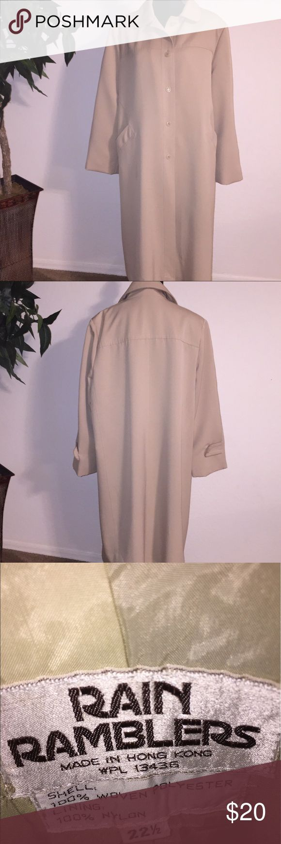 Rain Ramblers 22 W  tan trench rain coat Gently worn tan Rain Ramblers. Women's 22 plus size. Fully lined and 2 side pockets. Rain Ramblers Jackets & Coats Trench Coats