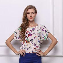 2015 nuevo verano Stlye mujeres blusas más el tamaño del o-cuello imprimir mujer camisas Casual manga corta Tops blusa de la gasa(China (Mainland))