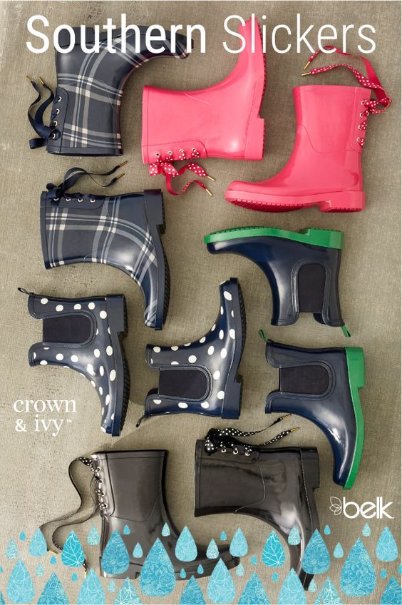 Stay dry this season with cute rain boots. From classic black rain boots to fun pairs like red rain boots or yellow rain boots, we have an assortment of pretty and practical options. Perfect for pairing with your favorite jeans or a casual dress, designer rain boots are a must-have for your fall and winter wardrobe. Shop rain shoes for the season in store or online at Belk.com.