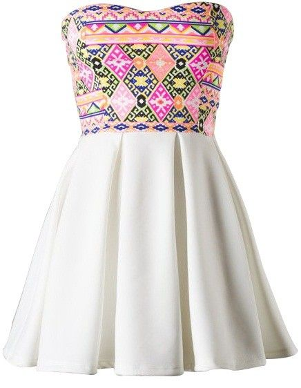 Tribal Top Skater Dress. Strapless skater dress with multi-colored tribal print sweetheart top and white pleated skirt. 100% Polyester. #ustrendy www.ustrendy.com