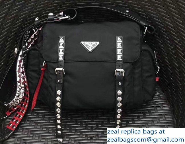 a68f7408236e Prada Stud Nylon Shoulder Bag 1BD118 Black Red 2018
