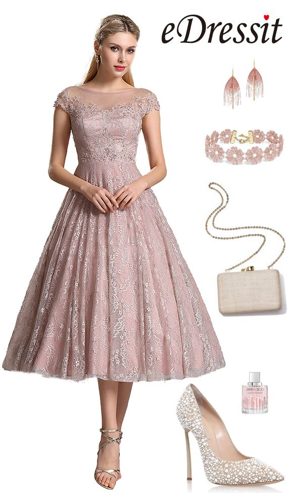 eDressit Rosy Brown Lace Prom Cocktail Dress