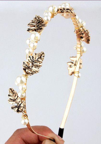 pearls and leaves headband