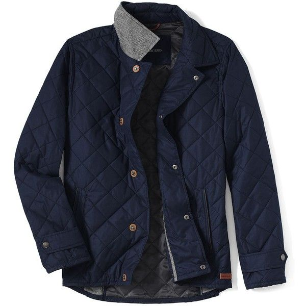 Lands' End Men's PrimaLoft Quilted Jacket ($90) ❤ liked on Polyvore featuring men's fashion, men's clothing, men's outerwear, men's jackets, blue, mens insulated jacket, mens quilted leather jacket, mens blue jacket and mens leather jackets