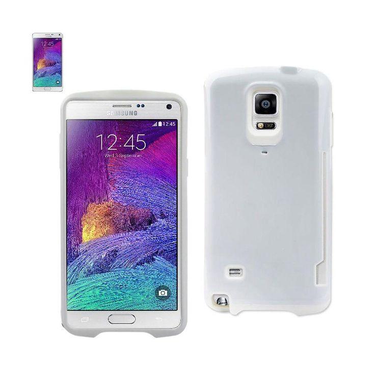 Reiko Dual Color Tpu+Pc Cover For Samsung Galaxy Note 4 N910V/ N910P/ N910T/ N910R4 White With Side Card Holder