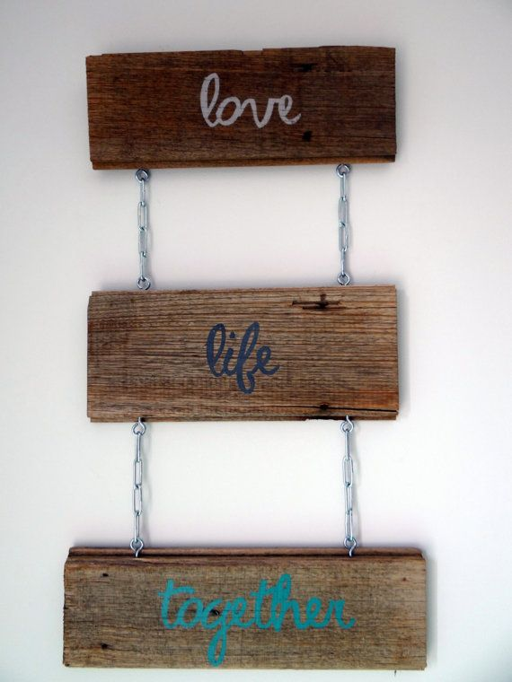 Recycled Timber Love Life Together Sign by SimplyType on Etsy, $50.00