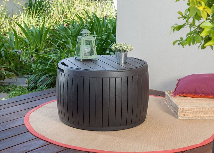 Natural Wood Style Round Outdoor Storage Table Deck Box Best Offer 2017. Keter 37 Gallon Circa Natural Wood Style Round Outdoor Storage Table Deck Box. 37 gallon internal storage capacity; Contemporary circular design with durab. #Natural #Wood #Style #Round #Outdoor #Storage #Table #Deck #Box