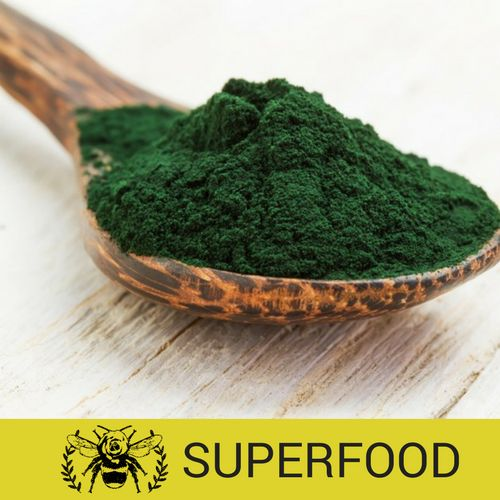 Spirulina   Rosehive Superfoods is a monthly {vegan} discovery box of superfoods, herbs, powders, snacks and cooking ingredients. Here is a peek inside March's Healthy Gut Box! www.RosehiveSuperfoods.com/March-Box/