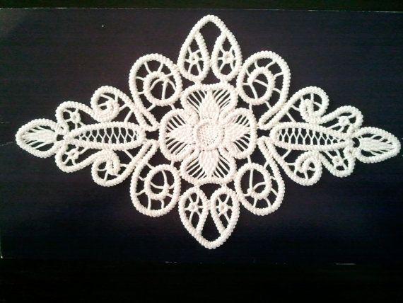 "Crocheted Doily, Romanian Point Lace Crochet Doily, Ivory, Floral Pattern, 9"" x 5"""