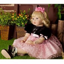 "22"" Lifelike Reborn Blonde Hair Girl Dolls Vinyl Handmade Princess Baby Doll"