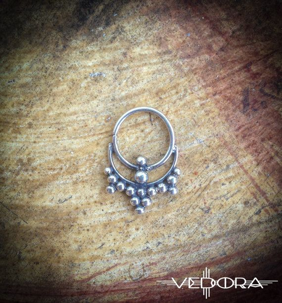 Silver Septum nose ring tribal india style jewelry by Vedora