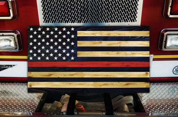 Handcrafted Thin Red Line  Wood American Flag. #firefighter #firefighting #thinredline #decor #furniture #american #usa #veterans #handmade #art