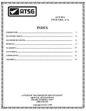 ACURA INTEGRA – CA – Automatic Transmission Service Group