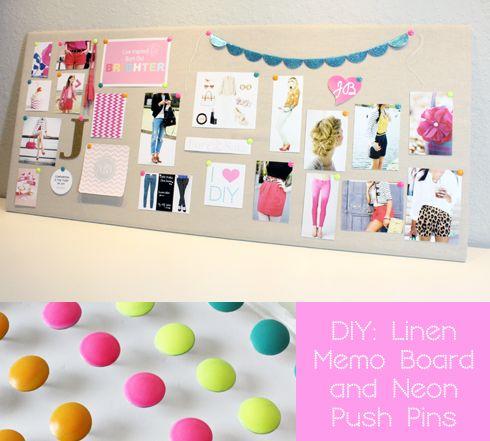 DIY: Linen Memo Board & Neon Push Pins