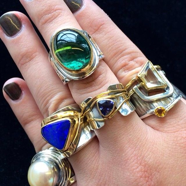 Decisions, decisions...lots of new rings to start our fall '14 #southerntrunkshowtour at @josephstores tomorrow! #opal #pearl #iolite #greentourmaline #sunstone #citrine #shoplocal #tennessee #silverandgold #ohME #margaretellisjewelry