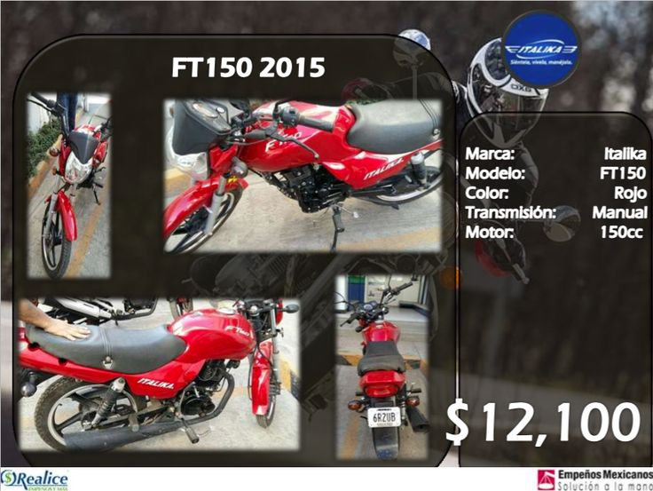 FT150 2015 Marca: Italika Modelo: FT150 Color: Rojo Transmisión: Manual Motor: 150 cc $12,100