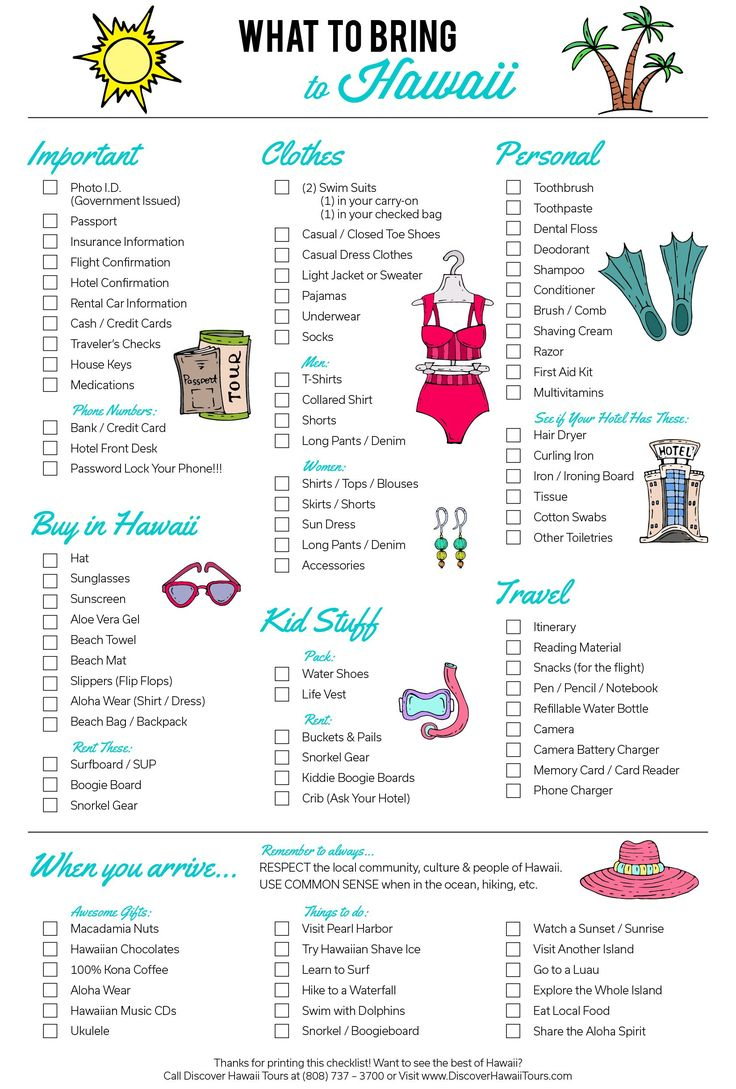 What To Pack - Hawaii Edition | Here it is! Your ultimate packing guide for visiting the Hawaiian Islands. Don't forget to print it out!
