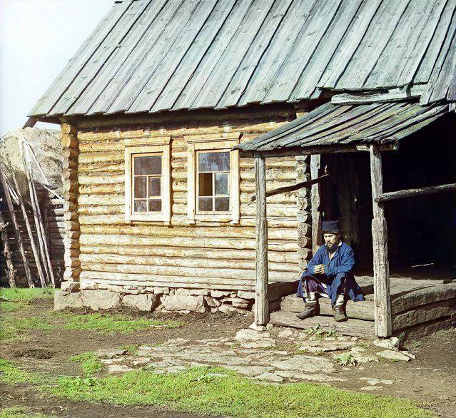 Photos by Sergey Prokudin-Gorsky. Bashkir near his house (In the village of Yakhia). Russia, Ufa Province, Ufa uyezd (district), Yakhino village, 1910
