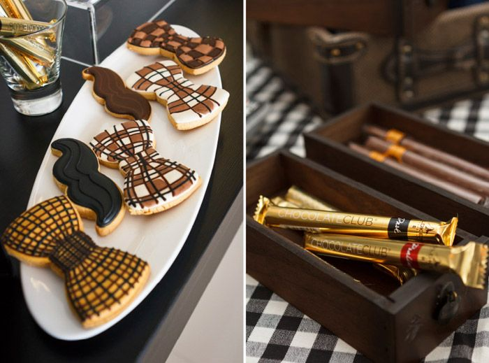 Mustache and bow tie cookies / Chocolate cigars + boxes Event Styling by Mint Events & Soirees. www.theweddingnotebook.com