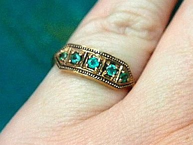 Jewellery-Ring-Vintage-Victorian Rose Gold and Emerald Ring