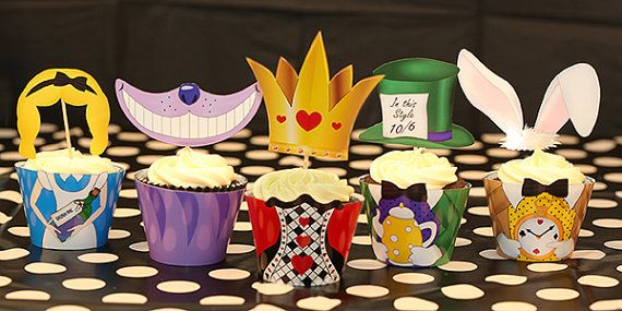 Beautifully designed Alice in Wonderland / Mad Hatters Tea Party Cupcake Wrappers. 5 Designs as shown  This is provided as a digital PDF that you