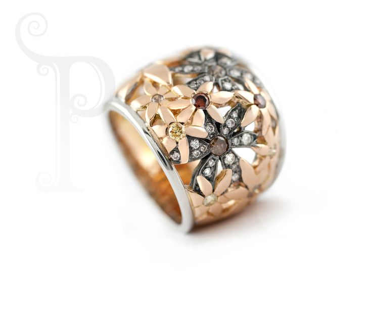 Handmade 18ct Rose gold, White Gold & Black Rhodium Plated Catherine the Great Daisy Ring, Set With White, Yellow and Cognac Diamonds