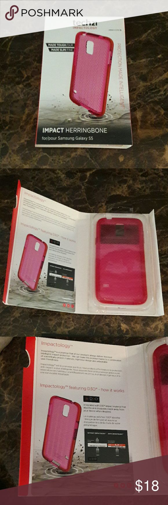 NWT Tech21 Impact Herringbone Pink Galaxy S5 Case Brand Tech21  Fits Samsung Galazy S5 NWT Impactology made Slim  Originally $34.99 purchased from T-Mobile  Pink Herringbone gel type Phone case Tech21 Accessories Phone Cases