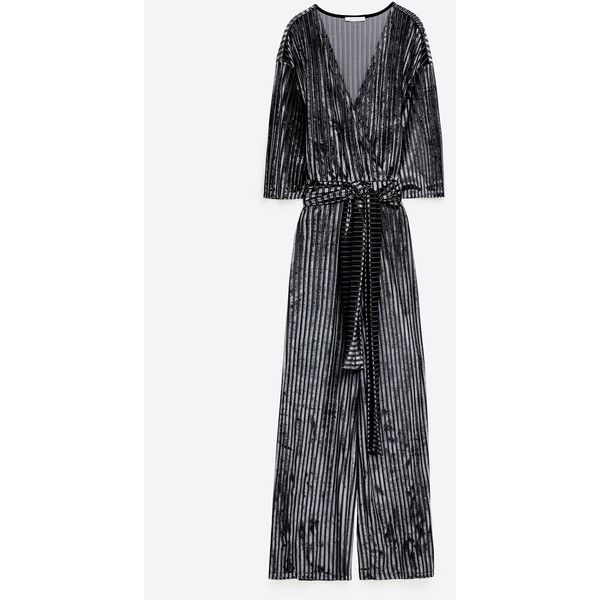 VELVET STRIPED JUMPSUIT - JUMPSUITS-WOMAN | ZARA United States ($40) ❤ liked on Polyvore featuring jumpsuits, white jump suit, white jumpsuit, velvet jumpsuit, jump suit and striped jumpsuits