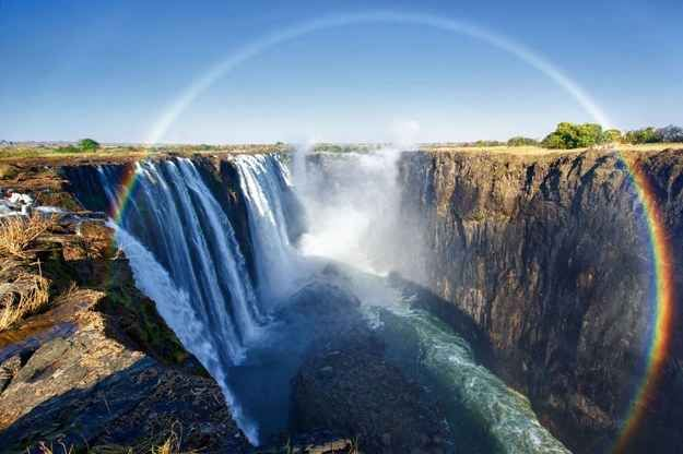 360 degree circle rainbows are only visible from the air. Below is an almost perfect example of the phenomenon taken at Victoria Falls, Zambia.