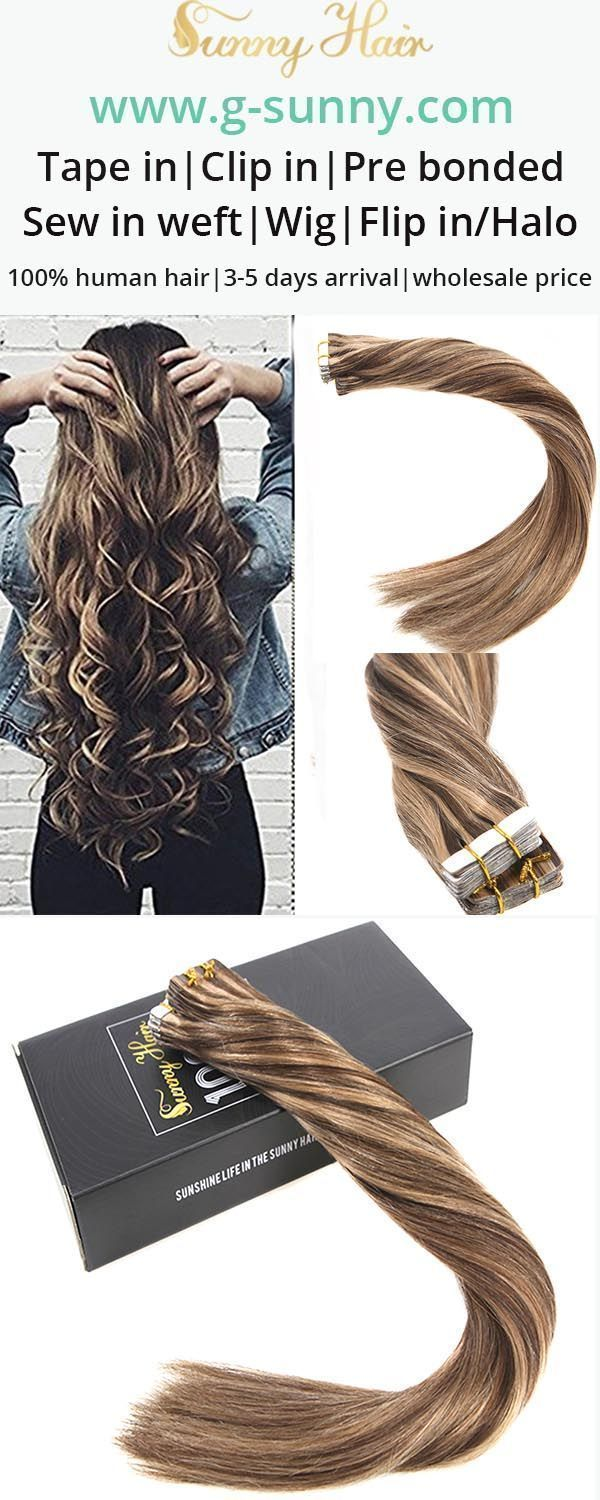Sunny Hair 100 Remy Human Hair Tape In Human Hair Extensions Easy Style Easy Care Go Balayage Tape In Hair Extensions Real Hair Extensions Hair Extensions