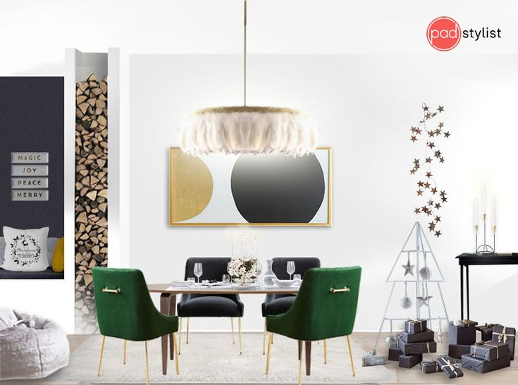 Simple colour scheme and layers of natural materials and textures are complemented by statement pieces like the green velvet chairs, feathered chandelier and artwork. A stylish dining room ready for entertaining.