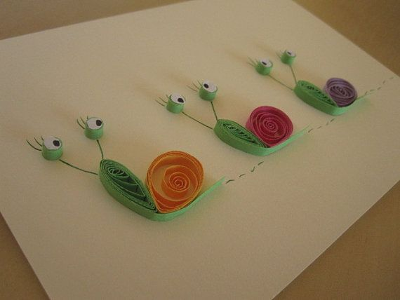 yellow, pink and purple snails on cream background blank card, quilled art, paper craft.
