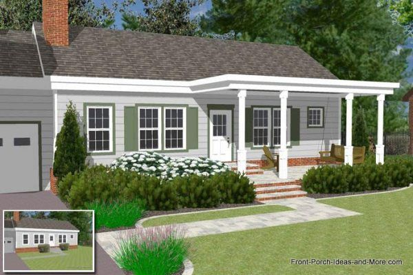 Ranch Home With A Pergola Style Front Porch For The Home