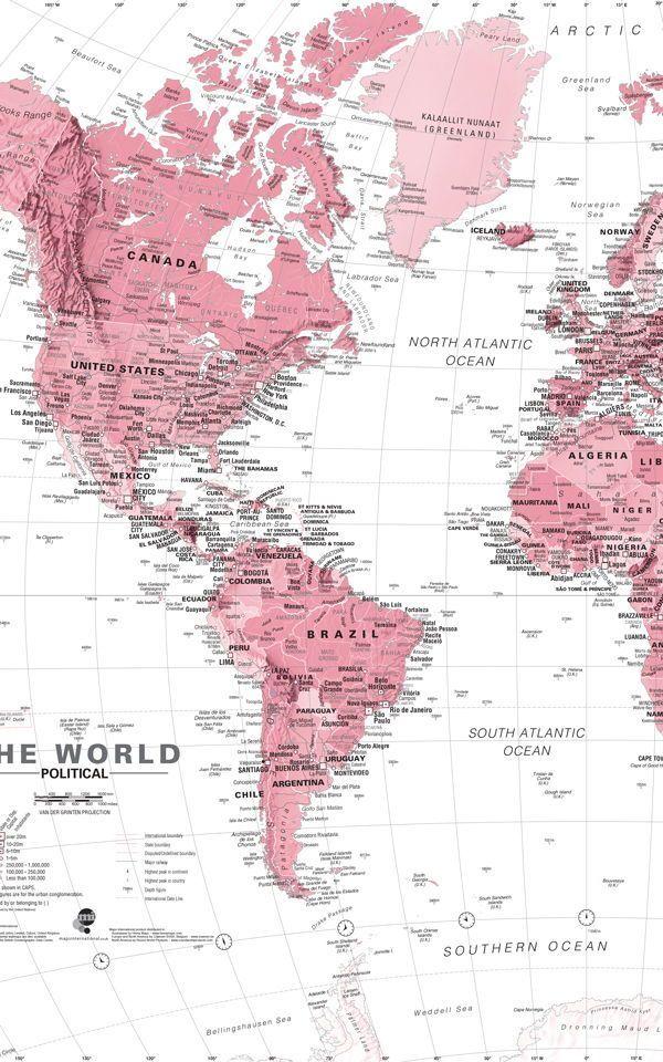 Unsere klassische Weltkarte ist ein wunderschönes Design ...