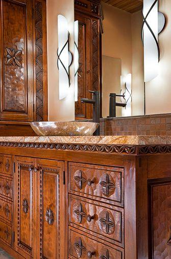 308 best spanish revival bathroom design images on pinterest for Santa fe style bathroom ideas