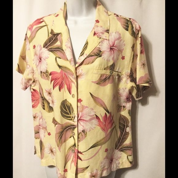 """CHICO'S Linen Blend Hawaiian Shirt NWOT ~ 5 Mother of Pearl shell buttons down front & 1 on pocket ~ 1 breast pocket ~ Square cut hem with 2"""" side slits SIZE: Chico's Sz 1 = US Sz Small  COLOR: Yellow, pinks, lavender, black, browns MATERIAL: 57% Linen / 43% Lyocell BUST: Pit-to-Pit – 21""""across / 42"""" around LENGTH: Shoulder Center to Bottom Hem – 24"""" BACK SHOULDER SEAM to SEAM: Outer Seams across Back – 18"""" SLEEVE LENGTH: Shoulder Seam to Cuff Hem – 7.5"""" CARE: Machine wash cold / Tumble…"""