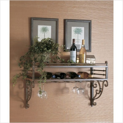 Wall mounted wine rack and stemware storage