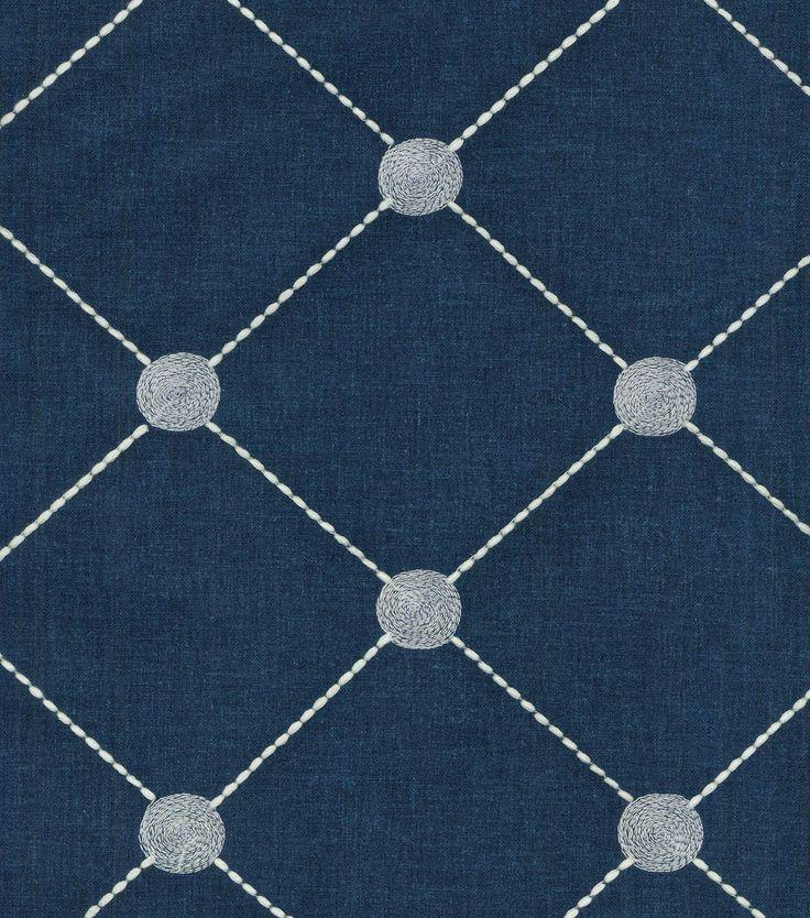 Kelly Ripa Upholstery Fabric-Fanfare Emb Indigo