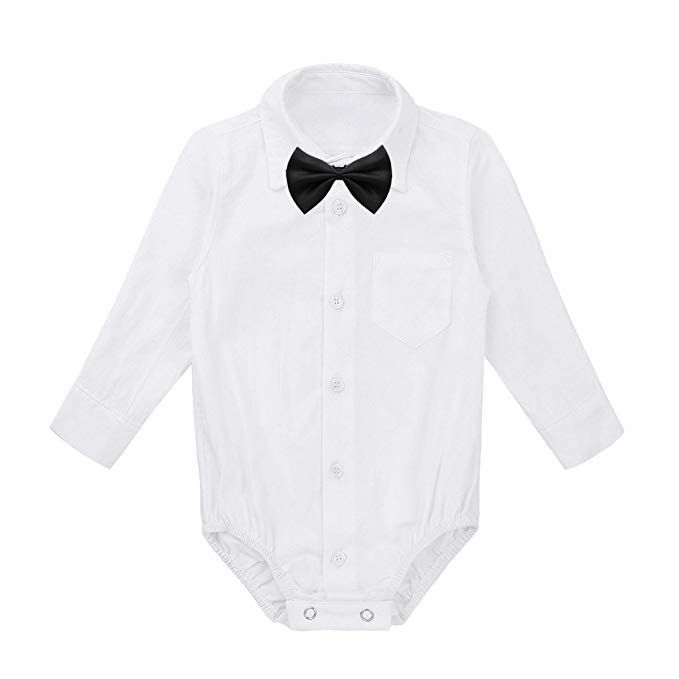 Baby Boy Girl Birthday Romper Bodysuit Newborn Formal Dress Shirt Clothes Outfit