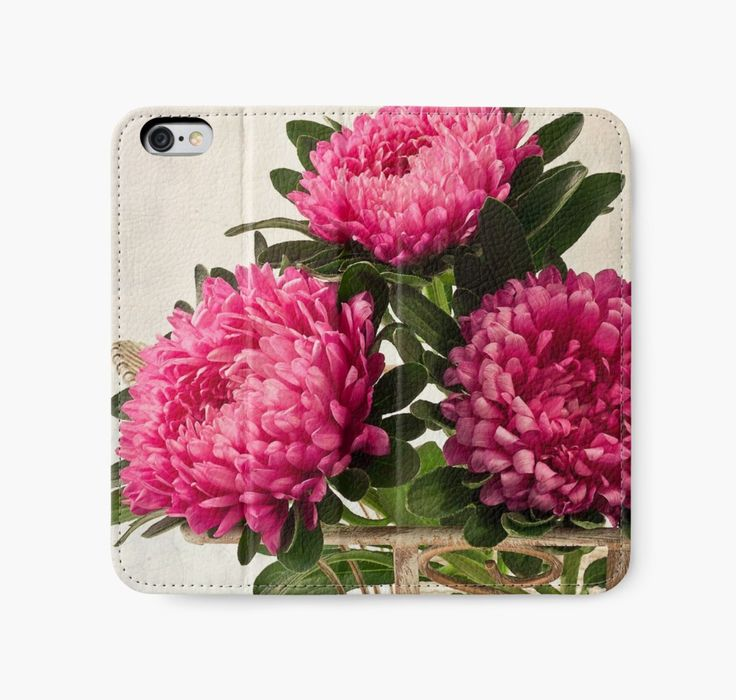 iPhone Wallet. #asters #pinkasters #asterstilllife https://www.redbubble.com/people/sandrafoster/works/10873803-three-asters-tray?p=iphone-wallet