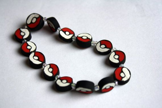 Beaded PokeballPokemon Beads, Pokemon Pokeball, Beaded Pokeball Bracelets, Pokeb Bracelets, Beads Pokeball, Beaded Bracelets, Necklaces, Pokemon Jewelry, Pokemon Bracelets