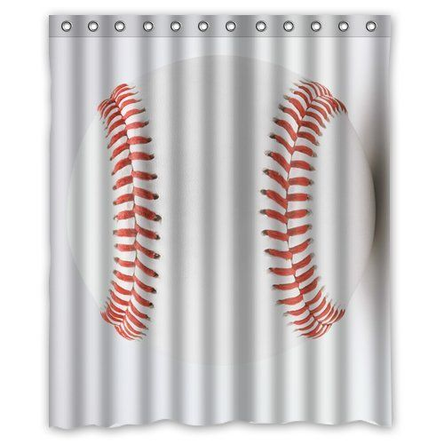 54 best awesome shower curtains images on pinterest for Baseball bathroom ideas